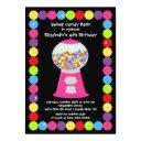 pink gumballs candy birthday party invitation