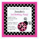 pink ladybug birthday - black and white polka dots invitation