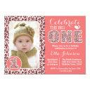 pink leopard print first birthday party invitation