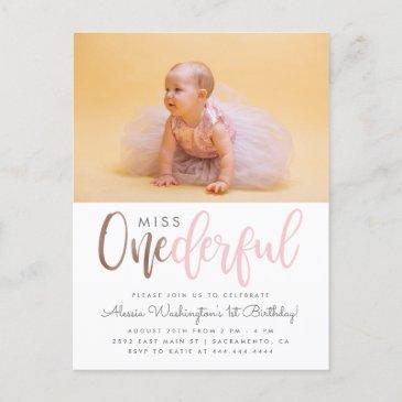 pink miss onederful script photo 1st birthday invitation postinvitations