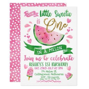 pink one in a melon themed 1st birthday invitation