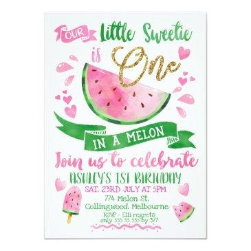 Small Pink One In A Melon Themed 1st Birthday Invitation Front View