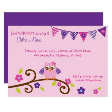 Cute Pink Purple Owl Birthday Invitations