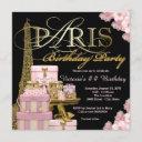 pink paris birthday party invitation