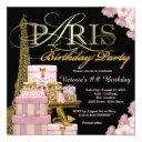 pink paris birthday party invitations