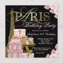 pink paris birthday party invitations