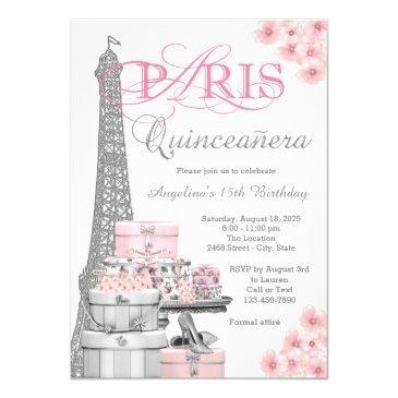 pink paris quinceanera invitations
