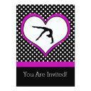 pink polka-dot gymnastics with heart invitations