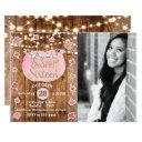 pink pumpkin fall rustic sweet 16 birthday photo invitations
