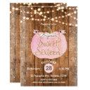 pink pumpkin fall rustic wood lights sweet 16 invitations