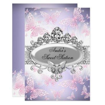 pink & purple butterfly sweet sixteen invite