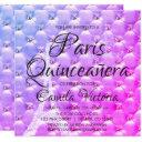 pink purple paris quinceañera celebration invitation