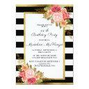 pink red floral black white stripes gold birthday invitation