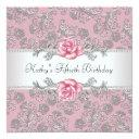 pink rose damask womans birthday party invitation