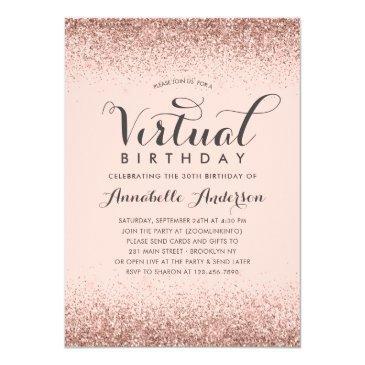 pink rose gold glitter sparkle virtual birthday invitation