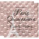 pink rose gold paris quinceañera celebration invitations
