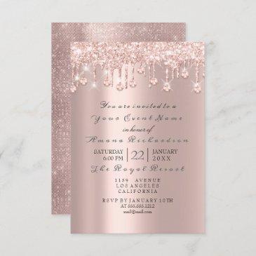 pink rose pastel powder spark glitter drip crystal invitation
