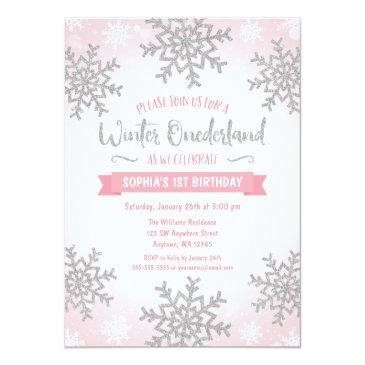 Small Pink Silver Winter Onederland 1st Birthday Invite Front View