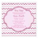 pink sparkle chevron womans 50th birthday party invitations