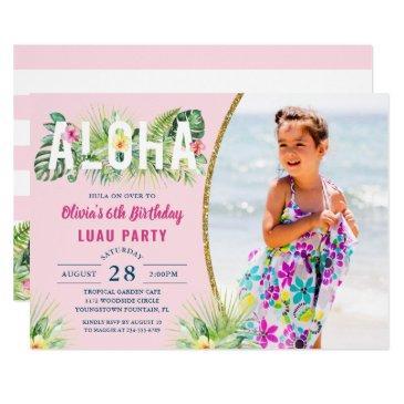 pink tropical floral aloha luau birthday photo invitations
