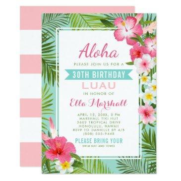 pink tropical flowers birthday luau invitations