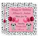 pink twin girls 1st birthday party dalmatian invitation