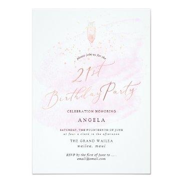 Small Pink Watercolor Champagne Glass+bubbles Invitation Front View