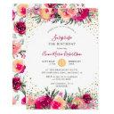 pink watercolor flowers surprise birthday party invitations