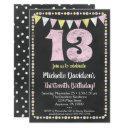 pink yellow chalkboard 13th birthday invitations