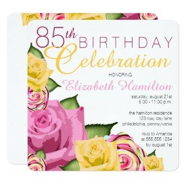 85th birthday invitations birthdayinvitations4u pink yellow floral 85th birthday celebration filmwisefo Choice Image
