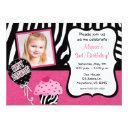 pink zebra cupcake girls birthday invitations