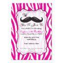 pink zebra mustache birthday party invitations! invitations