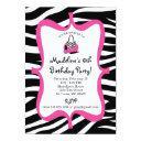 pink zebra print diva spa birthday invitations