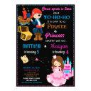 pirate and princess birthday invitation two theme