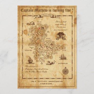 pirate birthday invitation - treasure map invite