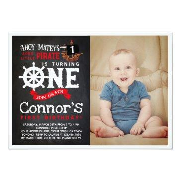 Small Pirate First Birthday Invitation With Photo Front View