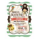 pirate; green, orange, & brown birthday party invitations
