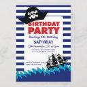 pirate hat boat boys nautical birthday invitation
