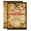 pirate old vintage treasure map birthday party invitations