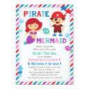 pirate or mermaid invitation, under the sea party invitation