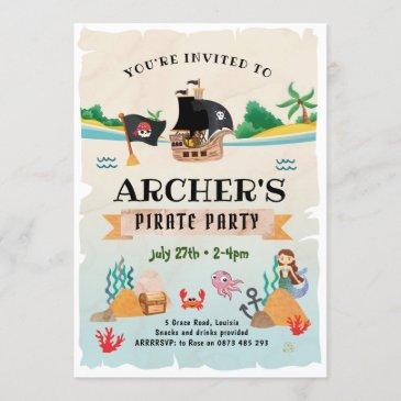 pirate party invitation, pirate birthday invitation