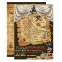 pirate ship vintage map treasure birthday party invitation
