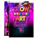 pixdezines sweet 16, laser lights/glow party invitations