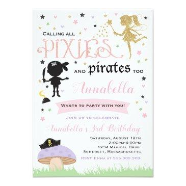Small Pixie And Pirate Birthday Invitation Fairy Pirate Front View