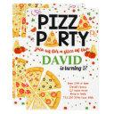 pizza party birthday kids italian fun boy girl invitation