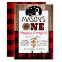 plaid red and black one happy camper boys camping invitation
