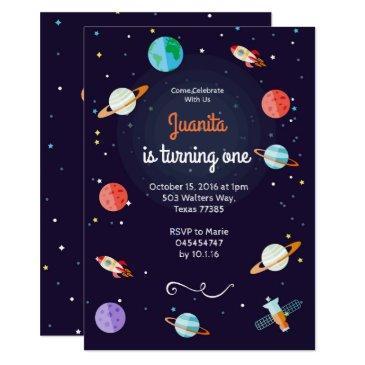 planet space solar system planet birthday invitation