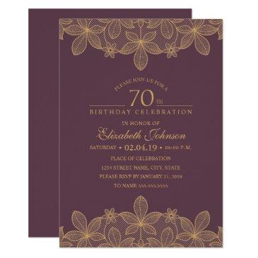 plum purple 70th birthday party unique golden lace invitations