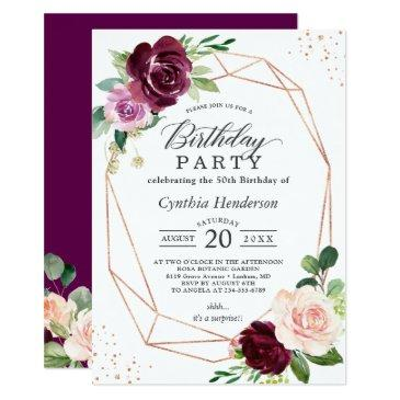 plum purple blush floral modern birthday party invitation