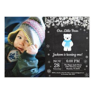 polar bear winter boy birthday photo invitation